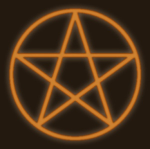 The Pentacle, which has been used, in some variation, by just about everybody at one point in history or another.  These days, it has become the ubiquitous symbol for modern paganism, and in particular Wicca.  The five points are said to represent the five magical elements of Earth, Air, Fire, Water and Spirit.