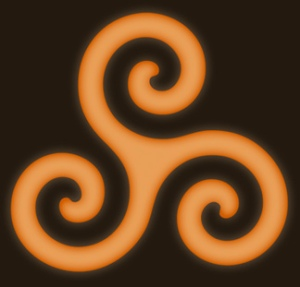 The Triple Spiral or Triskele is most often used as the Holy Symbol of Celtic Reconstructionist Paganism.  This symbol can be found inscribed on ancient stone monuments throughout the traditionally Celtic regions of Europe, although it's use likely predates Celtic culture.  In it's modern usage the three intersecting spirals are said to represent the three worlds (land, sea and sky) that come together to form a whole.