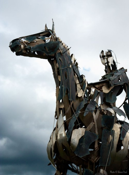 The Gaelic Chieftain - metal sculpture by Maurice Harron, overlooking the site of the battle of Curlew Pass and the town of Boyle, Co. Roscommon, Ireland.