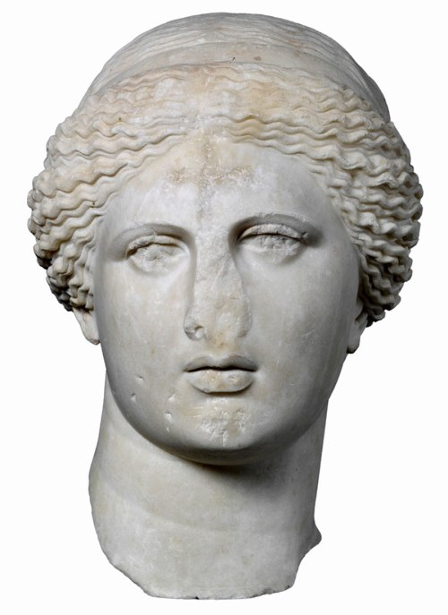 Here is the head of the Goddess Aphrodite, torn from her statue, her eyes gouged out and a cross chiseled into her forehead.  Carved in the 1st Century C.E., it was found in the Roman Agora in Athens.