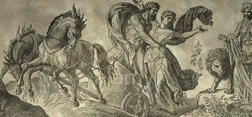 The God Pluto abducting his future wife Persephone, daughter of Demeter.